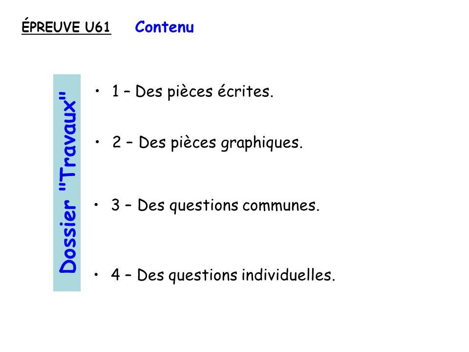 Dossier Travaux Contenu 1 – Des pièces écrites.