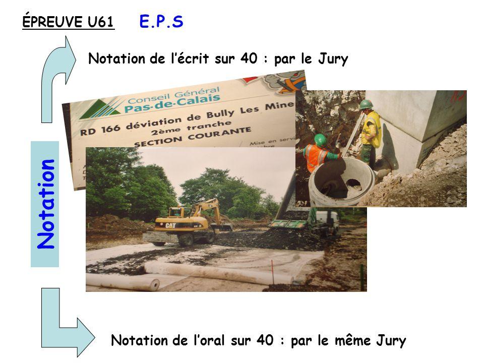 Notation E.P.S ÉPREUVE U61 Notation de l'écrit sur 40 : par le Jury