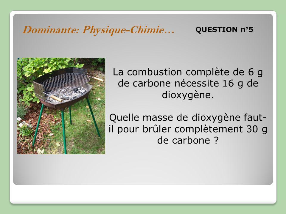 La combustion complète de 6 g de carbone nécessite 16 g de dioxygène.