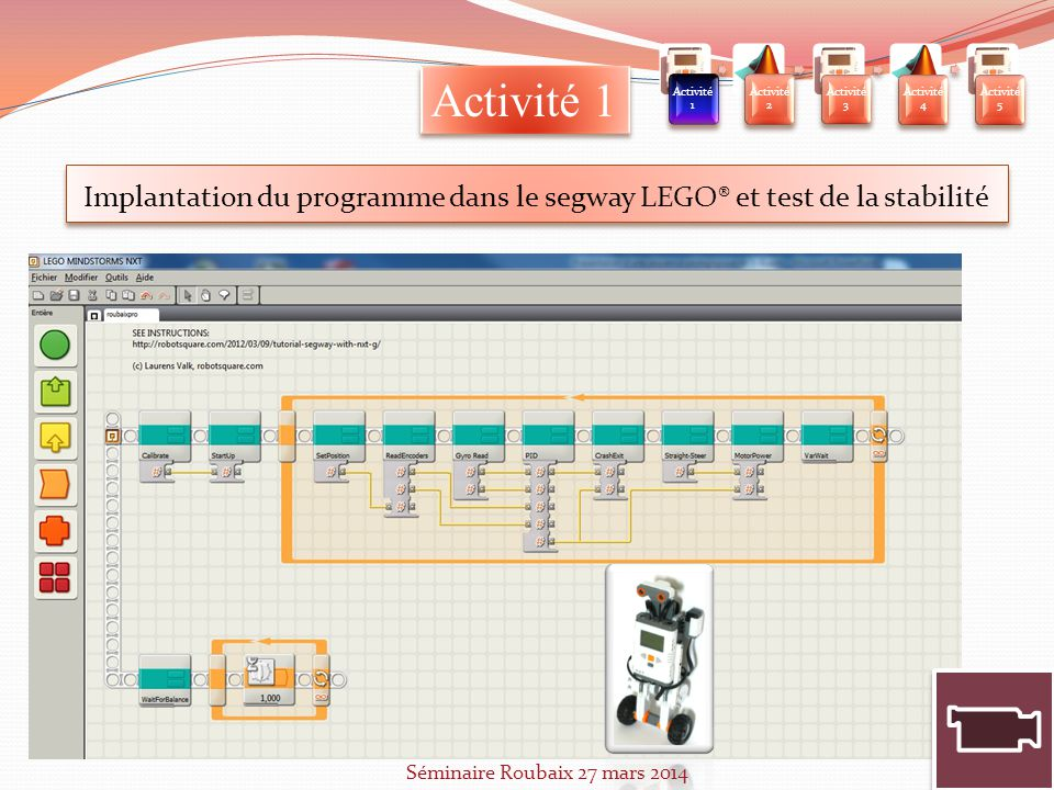 Implantation du programme dans le segway LEGO® et test de la stabilité
