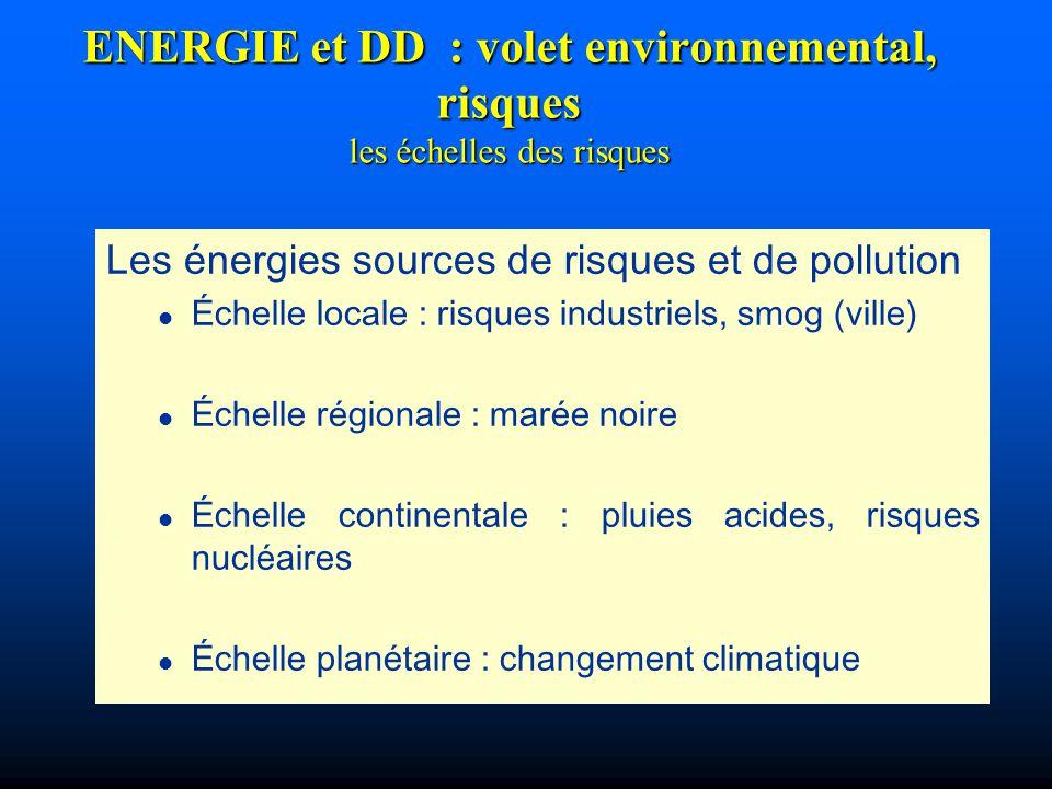 ENERGIE et DD : volet environnemental, risques les échelles des risques