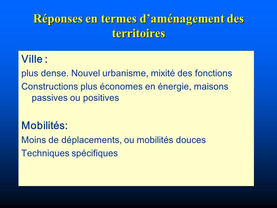 Réponses en termes d'aménagement des territoires