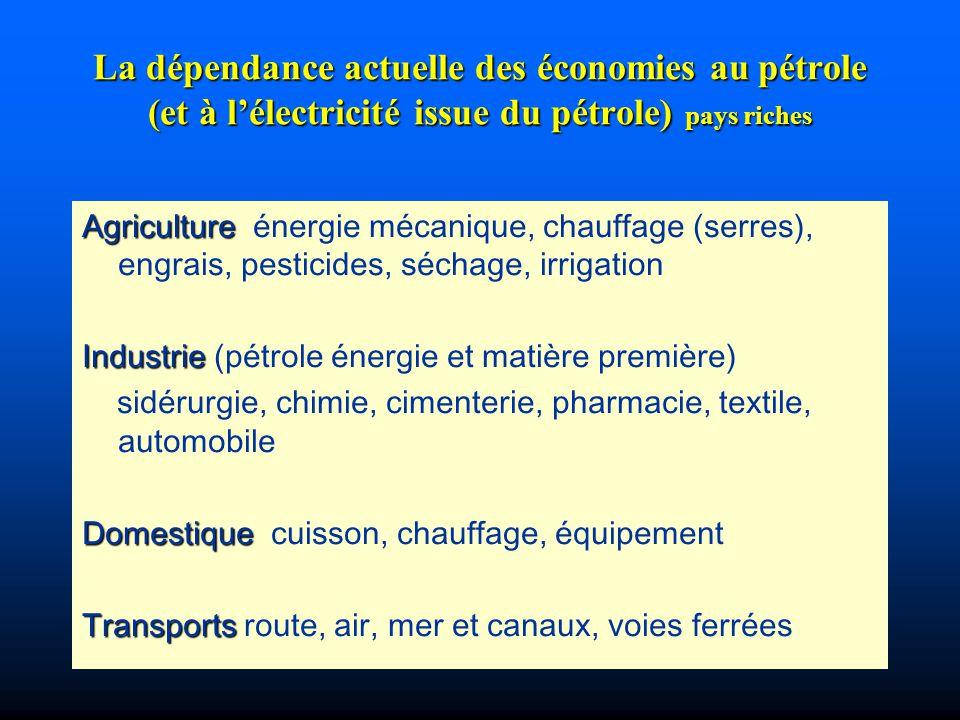 La dépendance actuelle des économies au pétrole (et à l'électricité issue du pétrole) pays riches