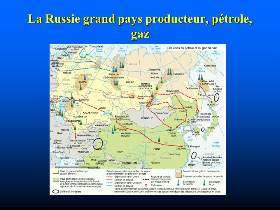 La Russie grand pays producteur, pétrole, gaz