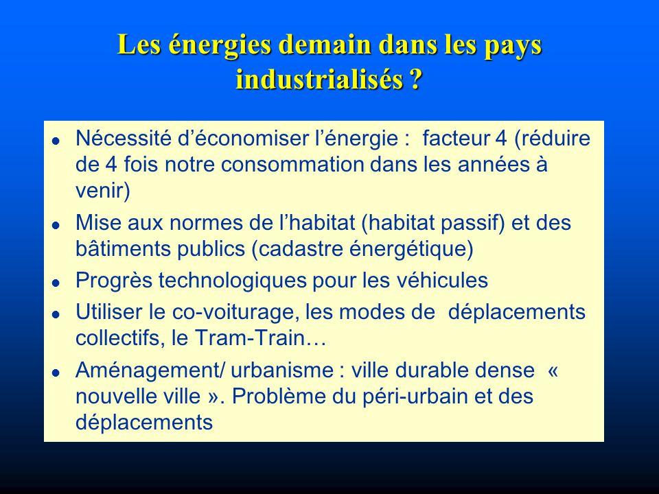 Les énergies demain dans les pays industrialisés