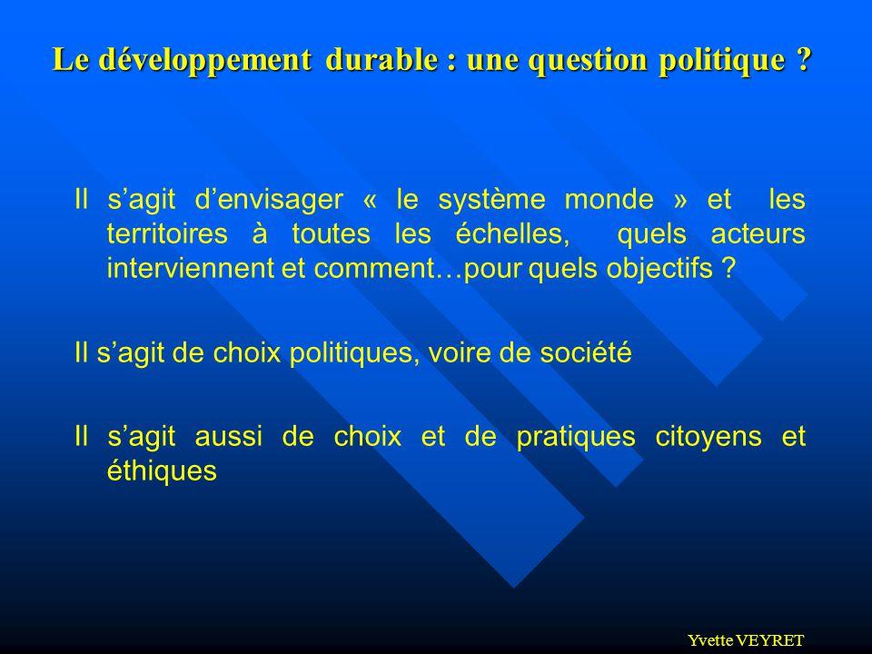 Le développement durable : une question politique
