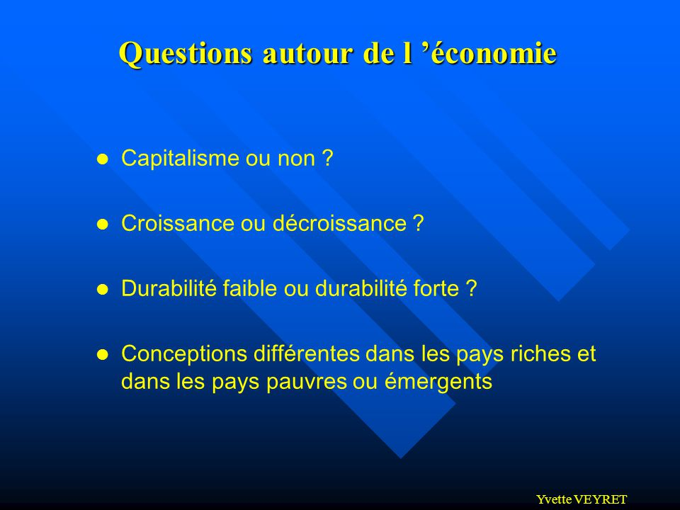 Questions autour de l 'économie