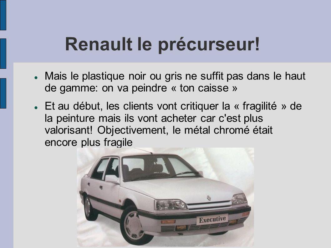 Renault le précurseur! Mais le plastique noir ou gris ne suffit pas dans le haut de gamme: on va peindre « ton caisse »
