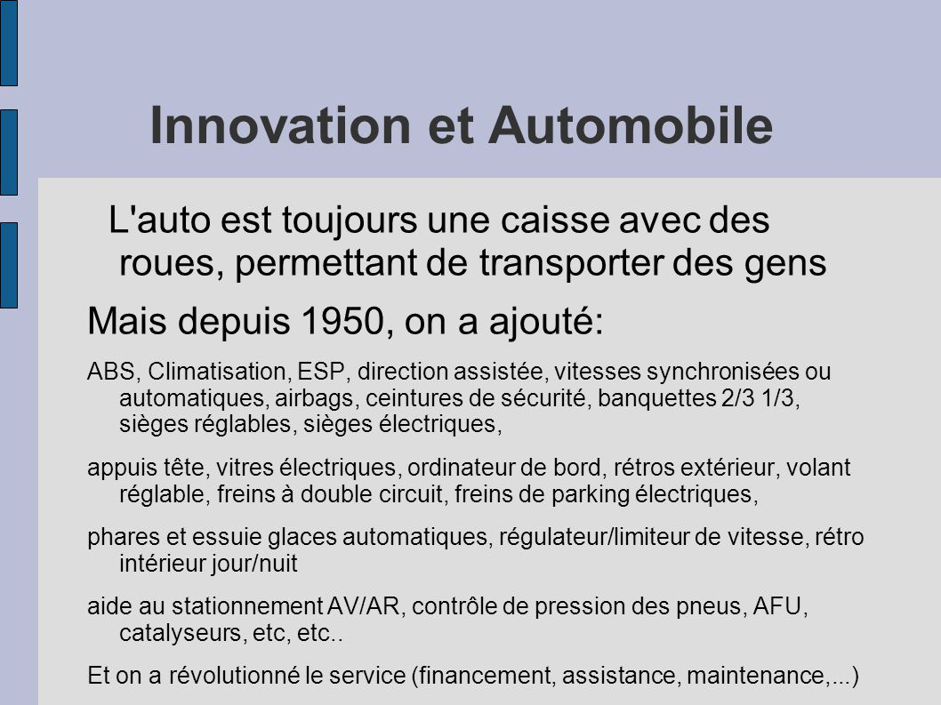 Innovation et Automobile