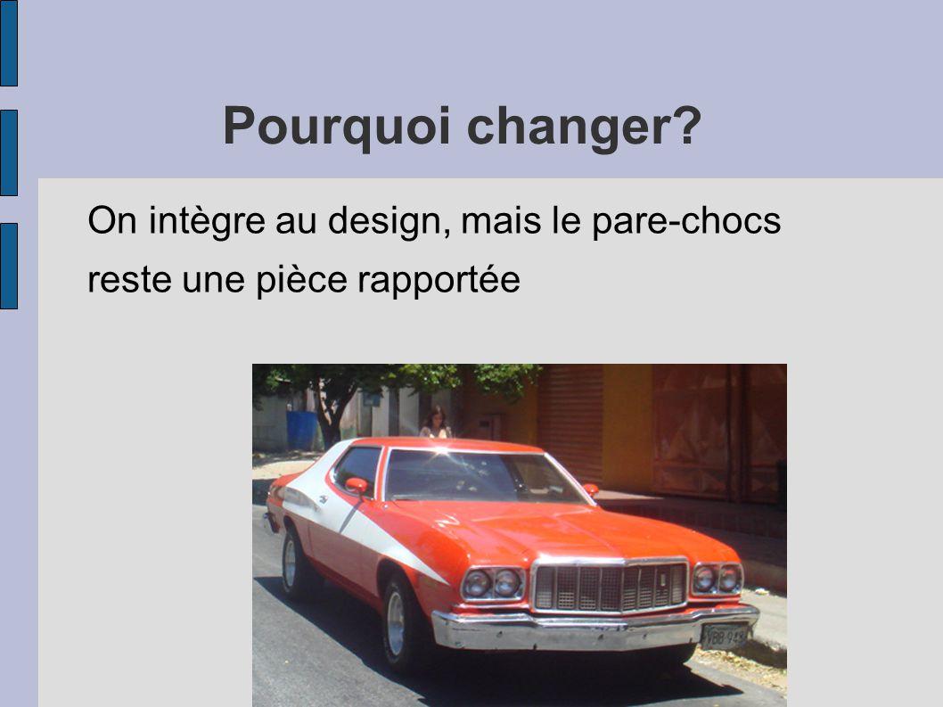 Pourquoi changer On intègre au design, mais le pare-chocs