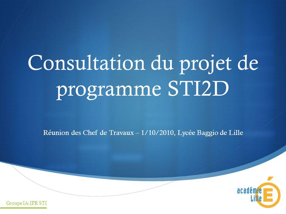 Consultation du projet de programme STI2D