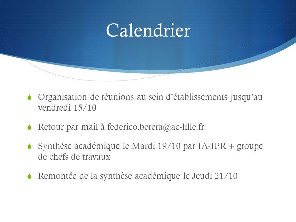 Calendrier Organisation de réunions au sein d'établissements jusqu'au vendredi 15/10. Retour par mail à federico.berera@ac-lille.fr.