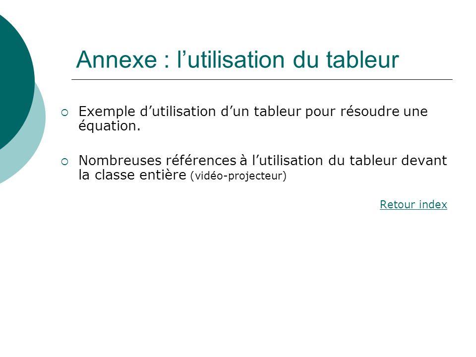 Annexe : l'utilisation du tableur