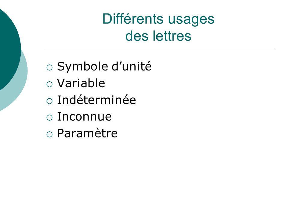 Différents usages des lettres