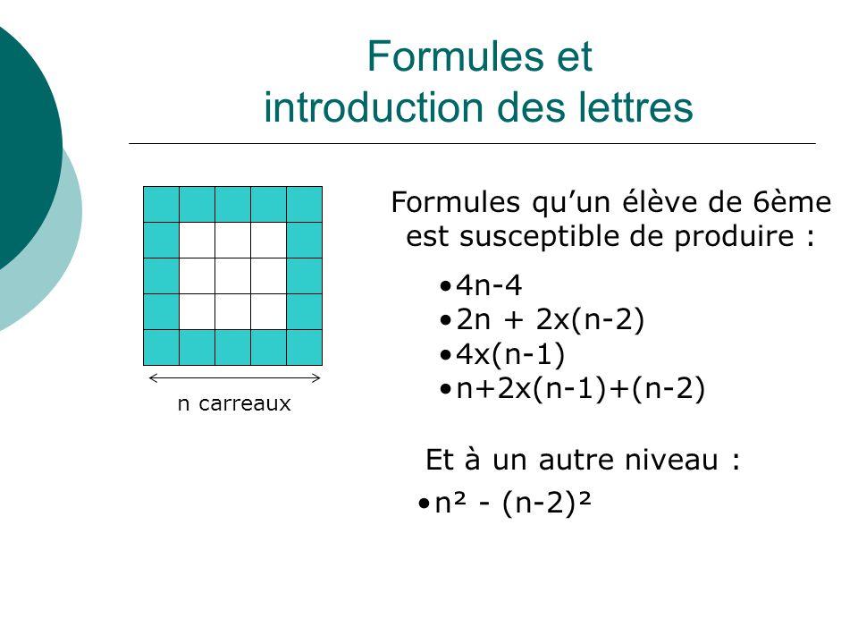 Formules et introduction des lettres