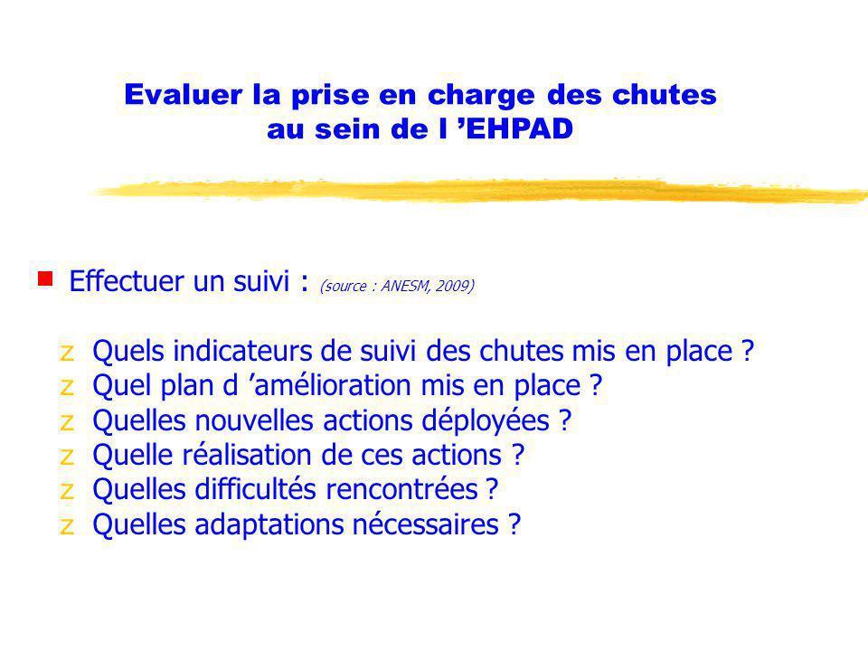 Evaluer la prise en charge des chutes au sein de l 'EHPAD