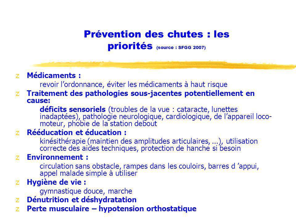 Prévention des chutes : les priorités (source : SFGG 2007)