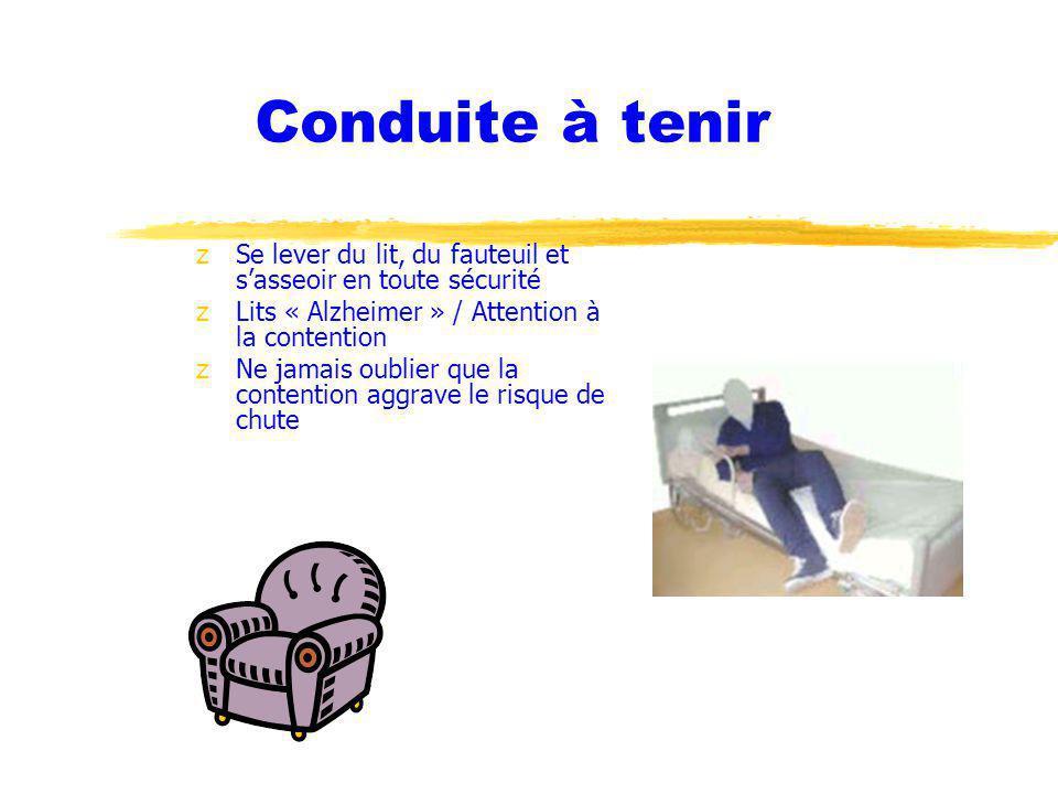Conduite à tenir Se lever du lit, du fauteuil et s'asseoir en toute sécurité. Lits « Alzheimer » / Attention à la contention.