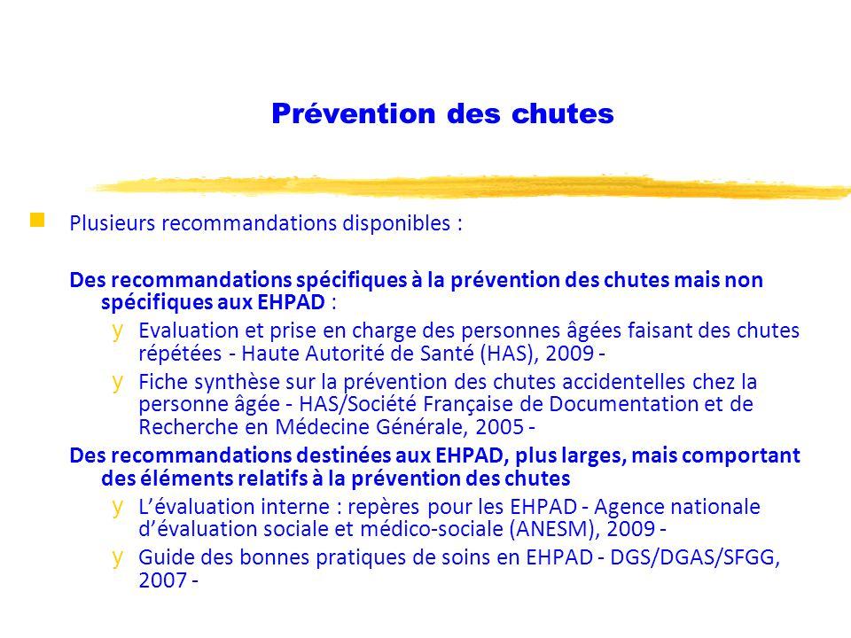 Prévention des chutes Plusieurs recommandations disponibles :