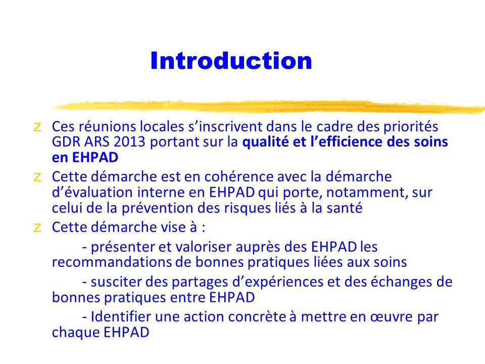 Introduction Ces réunions locales s'inscrivent dans le cadre des priorités GDR ARS 2013 portant sur la qualité et l'efficience des soins en EHPAD.