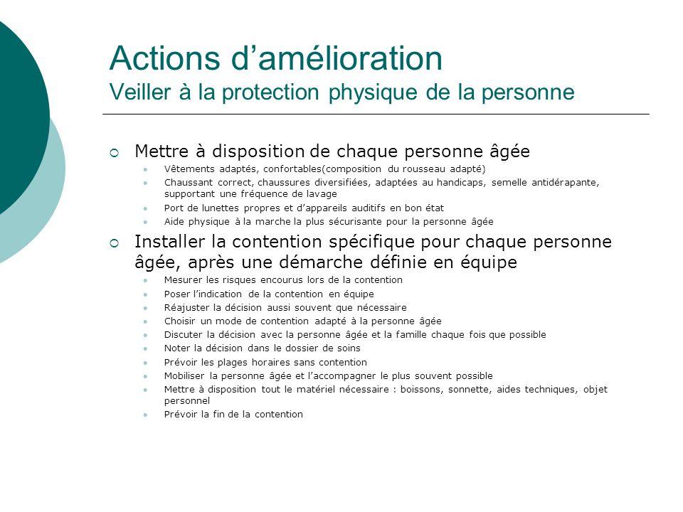 Actions d'amélioration Veiller à la protection physique de la personne