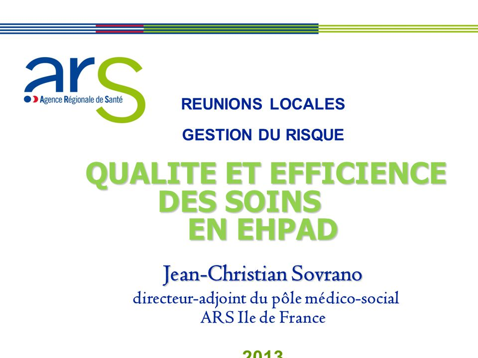EN EHPAD QUALITE ET EFFICIENCE DES SOINS Jean-Christian Sovrano