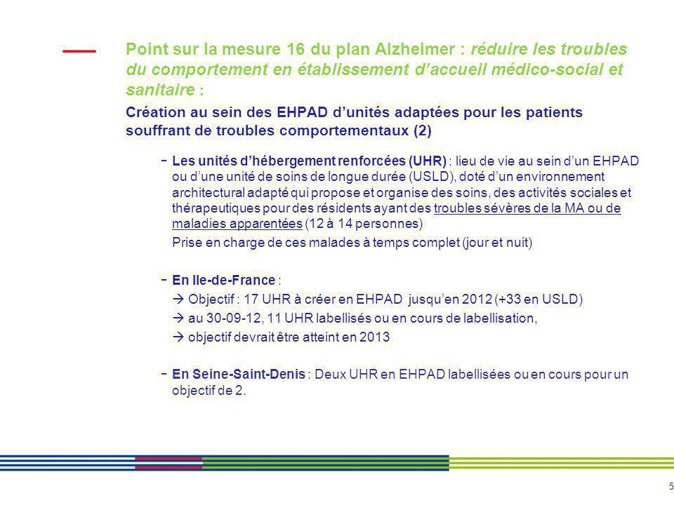 Point sur la mesure 16 du plan Alzheimer : réduire les troubles du comportement en établissement d'accueil médico-social et sanitaire :