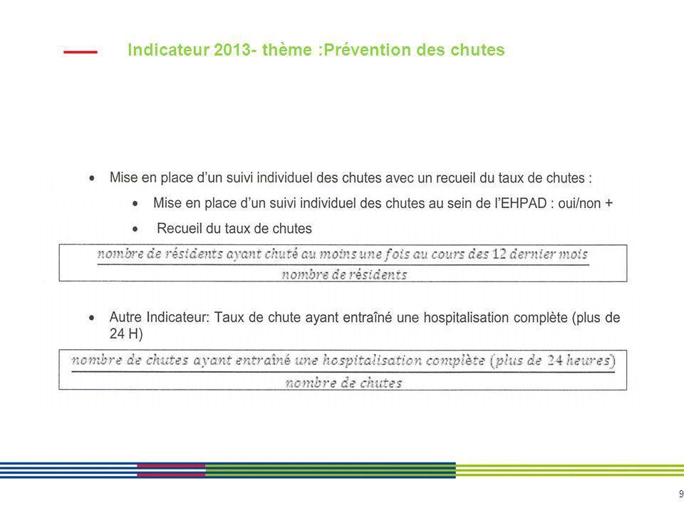 Indicateur 2013- thème :Prévention des chutes
