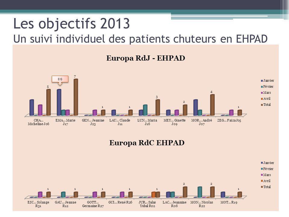 Les objectifs 2013 Un suivi individuel des patients chuteurs en EHPAD