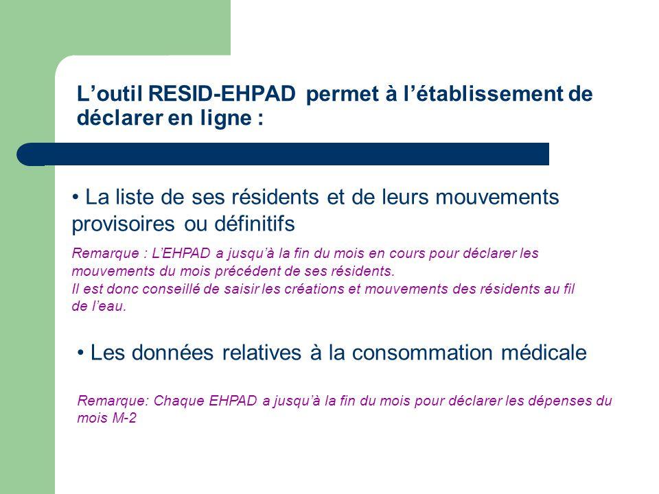 L'outil RESID-EHPAD permet à l'établissement de déclarer en ligne :