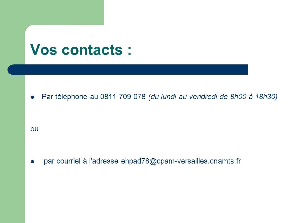 Vos contacts : Par téléphone au 0811 709 078 (du lundi au vendredi de 8h00 à 18h30) ou.