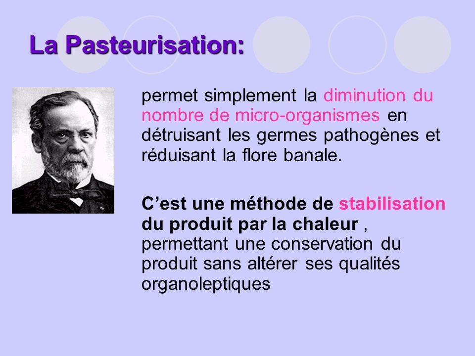 La Pasteurisation: permet simplement la diminution du nombre de micro-organismes en détruisant les germes pathogènes et réduisant la flore banale.
