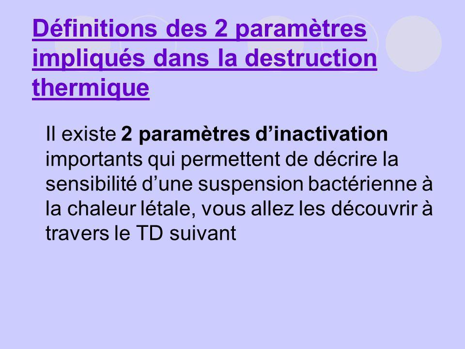 Définitions des 2 paramètres impliqués dans la destruction thermique