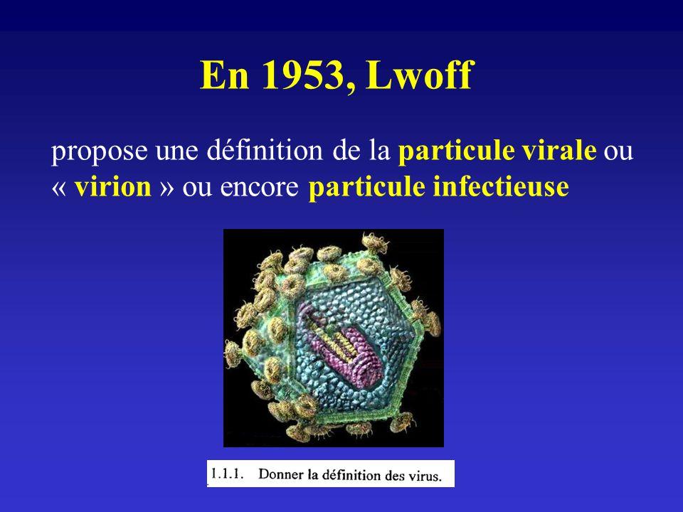 En 1953, Lwoff propose une définition de la particule virale ou « virion » ou encore particule infectieuse.