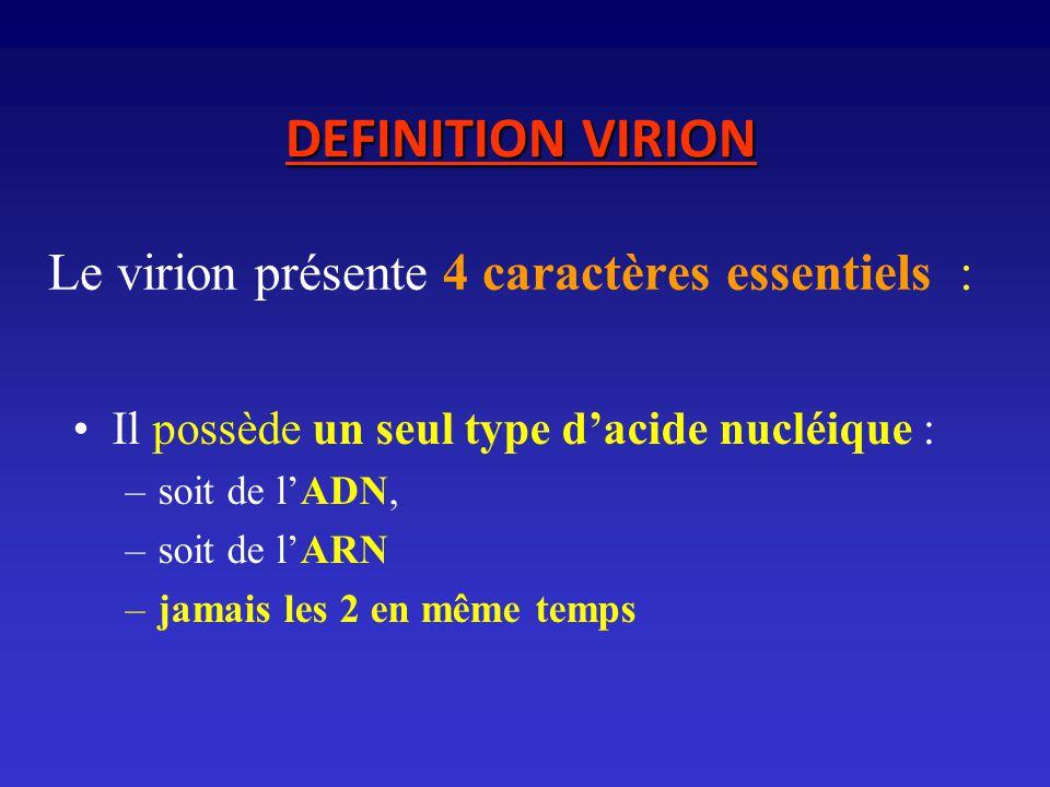 Le virion présente 4 caractères essentiels :