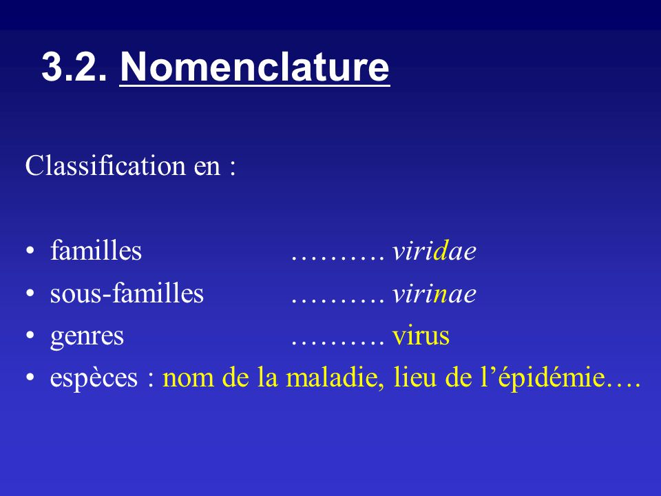 3.2. Nomenclature Classification en : familles ………. viridae