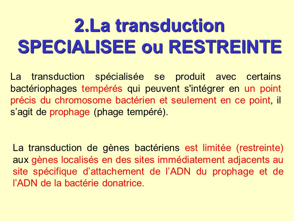 2.La transduction SPECIALISEE ou RESTREINTE
