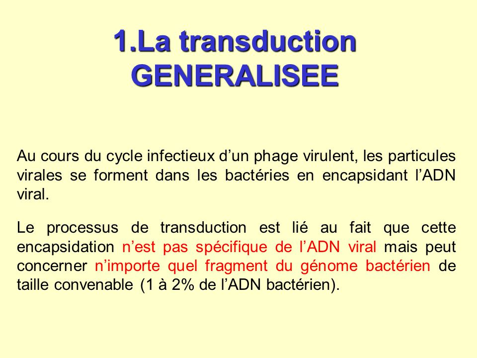 1.La transduction GENERALISEE