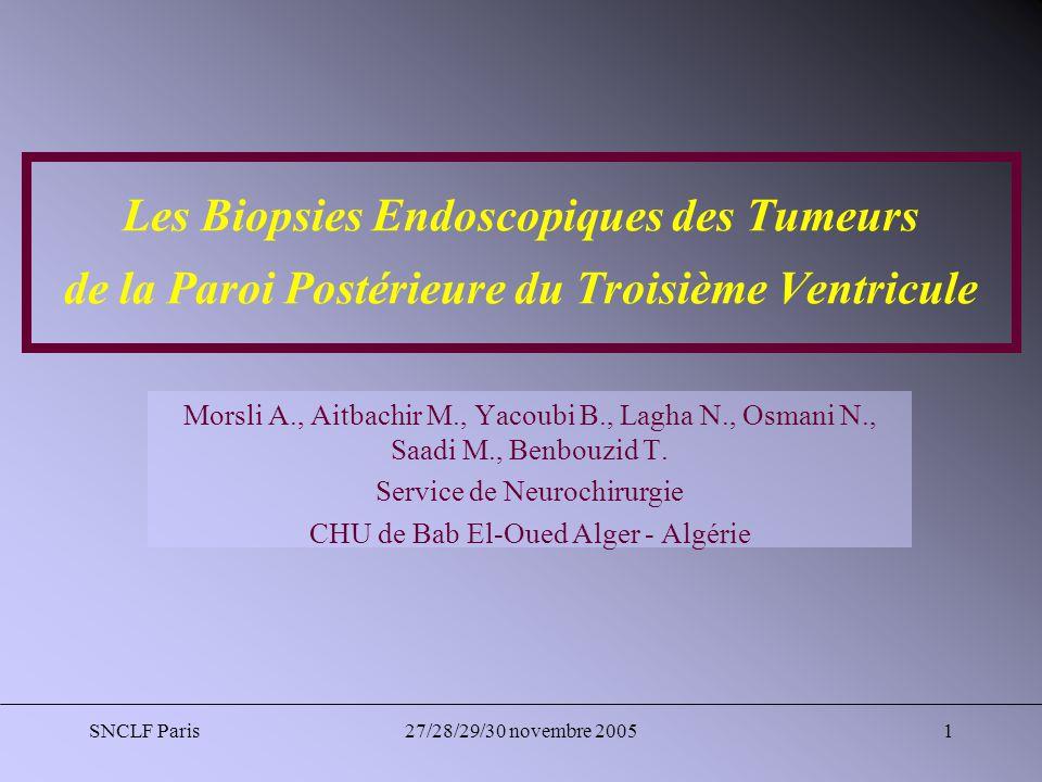 Les Biopsies Endoscopiques des Tumeurs de la Paroi Postérieure du Troisième Ventricule