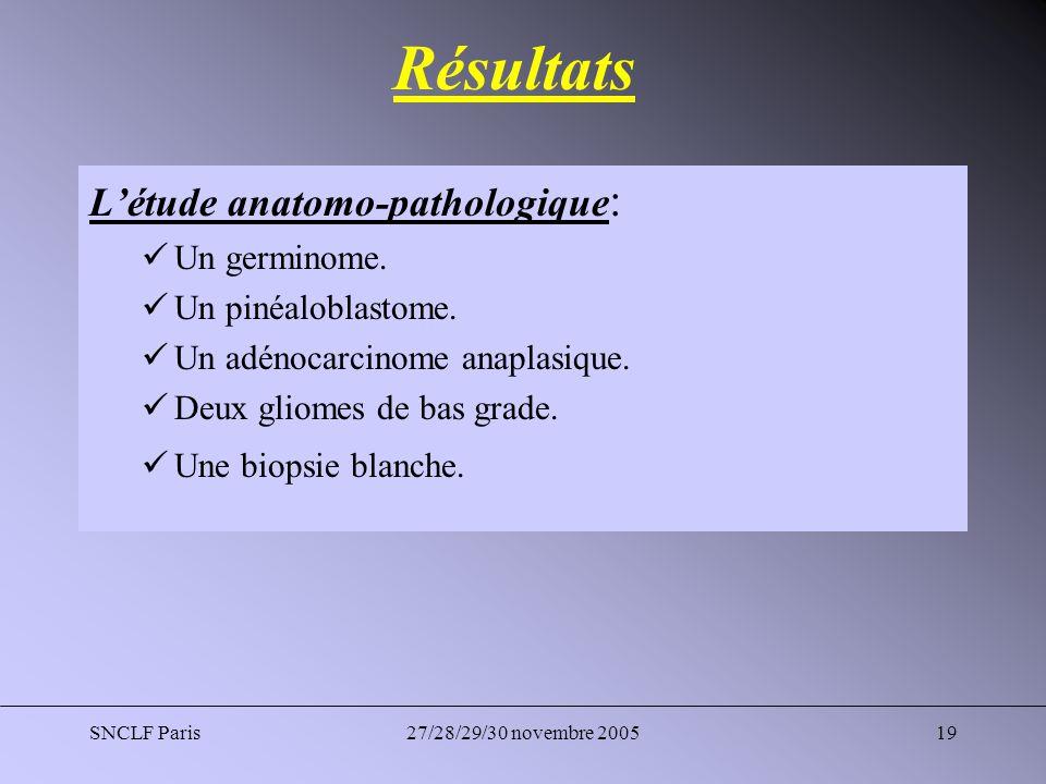 Résultats L'étude anatomo-pathologique: Un germinome.