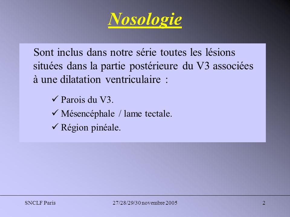 Nosologie Sont inclus dans notre série toutes les lésions situées dans la partie postérieure du V3 associées à une dilatation ventriculaire :
