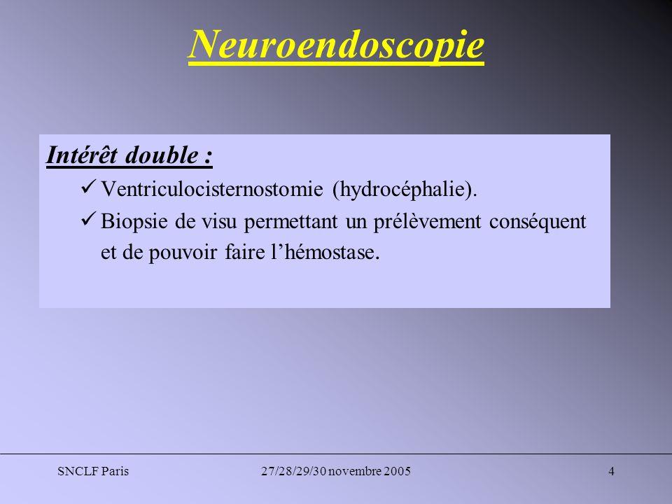 Neuroendoscopie Intérêt double :