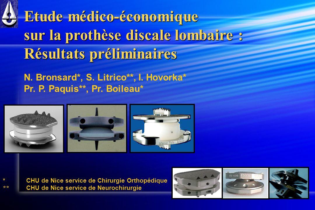 Etude médico-économique sur la prothèse discale lombaire :