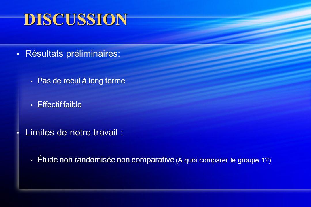 DISCUSSION Résultats préliminaires: Limites de notre travail :