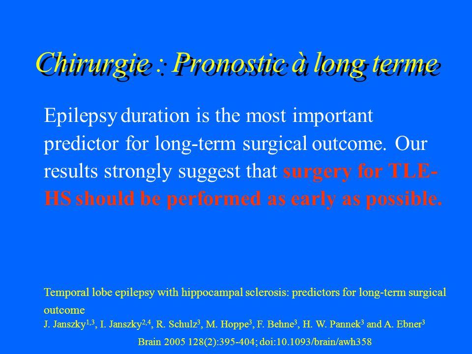 Chirurgie : Pronostic à long terme