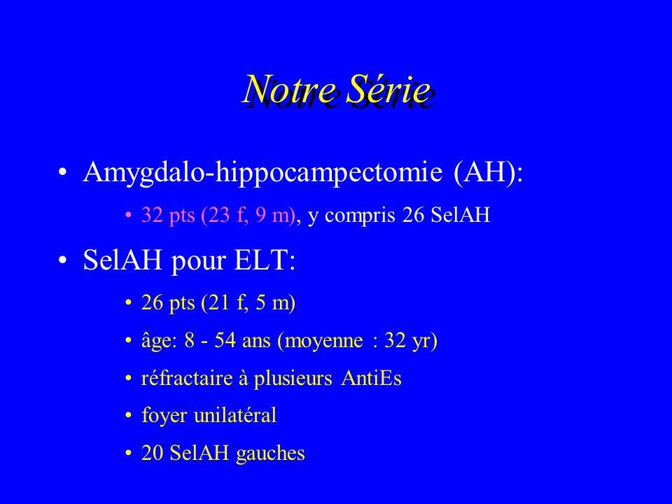 Notre Série Amygdalo-hippocampectomie (AH): SelAH pour ELT: