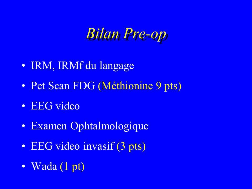Bilan Pre-op IRM, IRMf du langage Pet Scan FDG (Méthionine 9 pts)