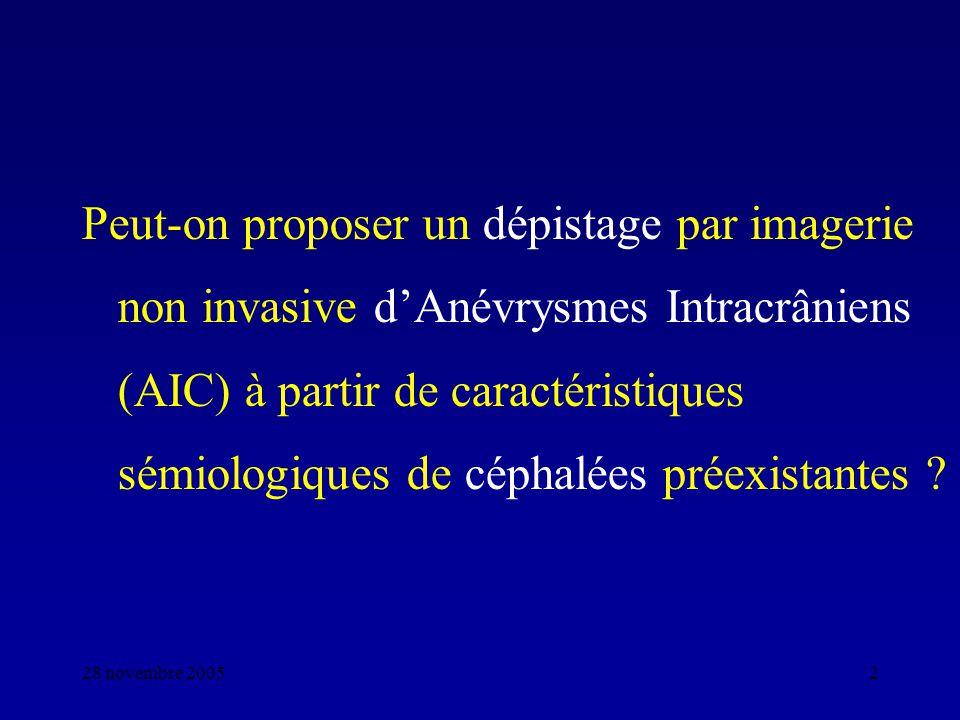 Peut-on proposer un dépistage par imagerie non invasive d'Anévrysmes Intracrâniens (AIC) à partir de caractéristiques sémiologiques de céphalées préexistantes