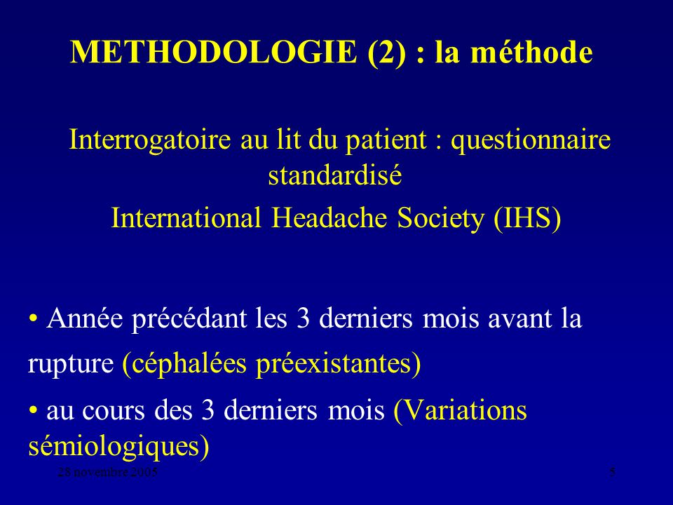 METHODOLOGIE (2) : la méthode