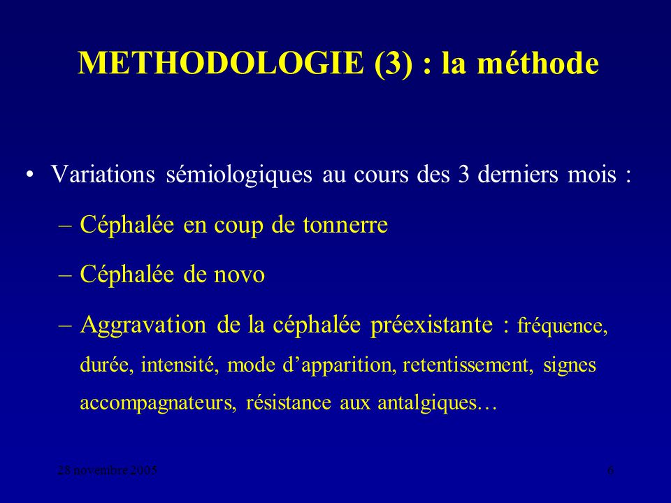 METHODOLOGIE (3) : la méthode